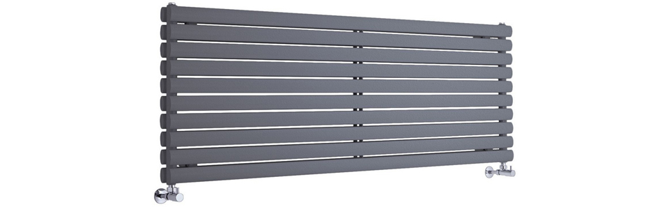 Milano Aruba – Anthracite Horizontal Designer Radiator 590mm x 1600mm (Double Panel)
